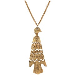 c.1970's Large Gold Totem Bird Articulated Pendant Statement Necklace Rare