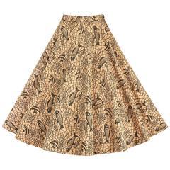 COUTURE c.1950's Tan Canvas Tropical Fish Print Rhinestone Circle Skirt OOAK