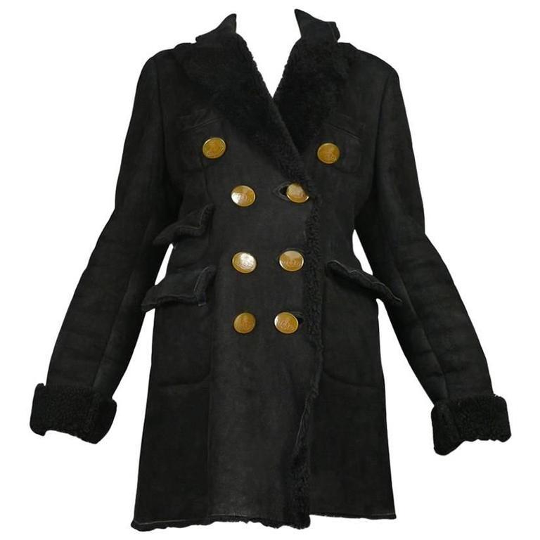 Vivienne Westwood Black Shearling Coat 1