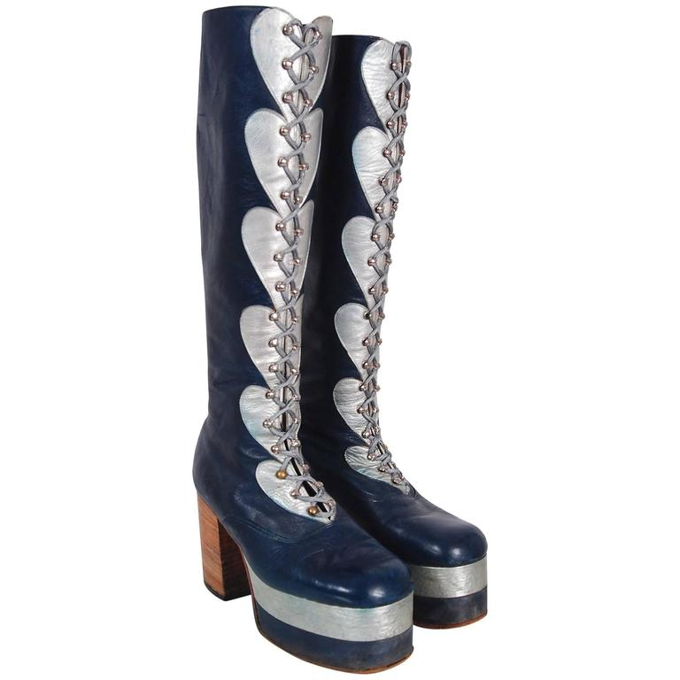 1970's Blue & Silver Leather Novelty Hearts Knee-High Platform Glam-Rock Boots 1