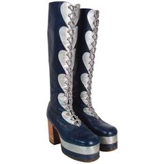 1970's Blue & Silver Leather Novelty Hearts Knee-High Platform Glam-Rock Boots