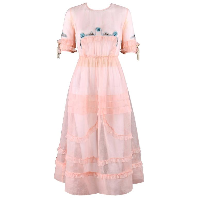 COUTURE Late 1910's Edwardian Pink Silk Organza Embroidered Sheer Day Dress For Sale