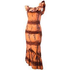 50s Hawaiian Dancer Tiki Print Dress