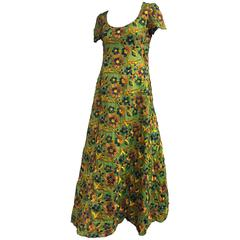 1960s Arnold Scaasi Heavily Emboidered Silk Floral Gown in Green Gold and Blue