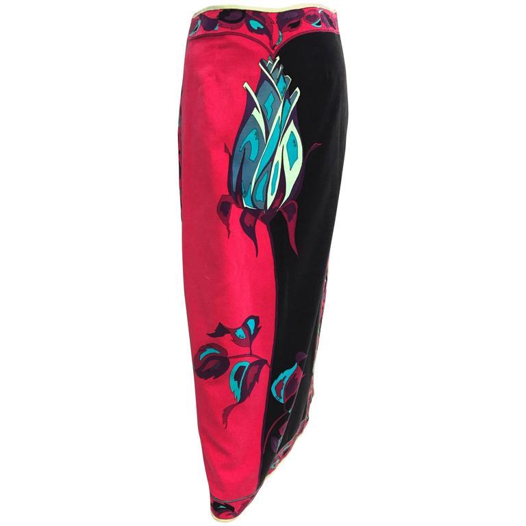 1970s Emilio Pucci Velveteen Maxi Skirt w Rose Print in Fuchsia Black & Blues 1