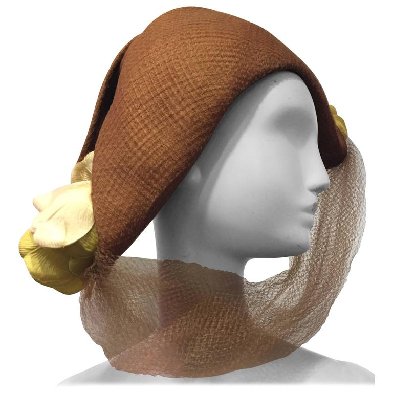 1940s Superb Irina Roublon Fine Tobacco Straw Bicorn Hat w Tulips and Tulle