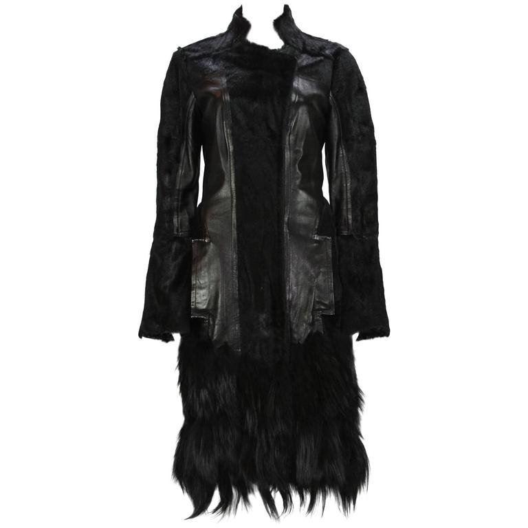 RARE TOM FORD for GUCCI F/W 2004 FOX GOAT LEATHER BLACK COAT For Sale