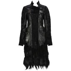 RARE TOM FORD for GUCCI F/W 2004 FOX GOAT LEATHER BLACK COAT