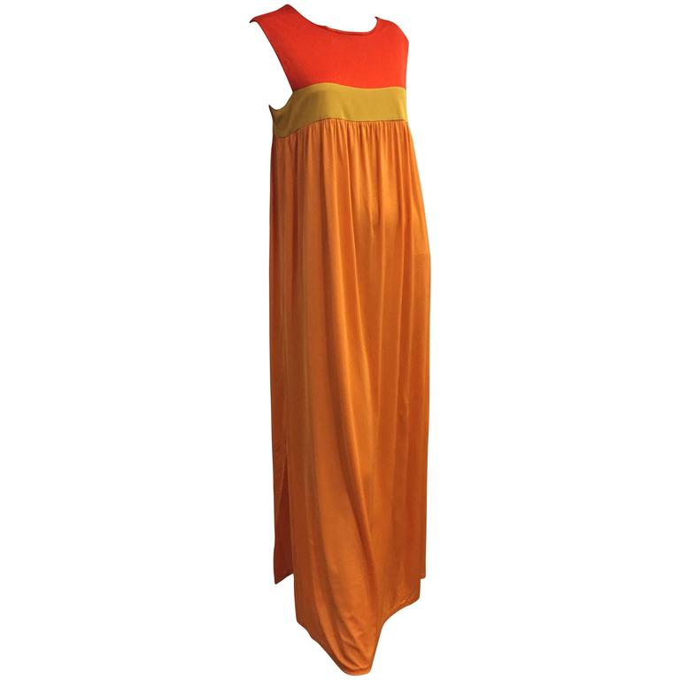 1960s Emilio Pucci Persimmon Chartreuse & Tangerine Color-Block Jersey Silk Gown
