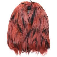 Famous GUCCI Diamond Long Hair Goat Fur Coat Jacket Handwoven