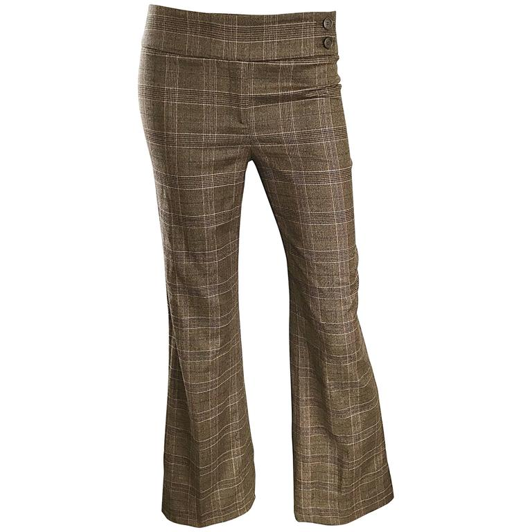New Michael Kors Collection Brown Glen Plaid Virgin Wool Flare Leg Size 2 Pants