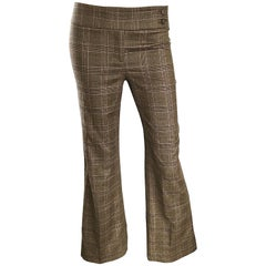 New Michael Kors Collection Size 2 Brown Glen Plaid Virgin Wool Flare Leg Pants