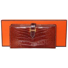 Hermes Alligator Wallet Béarn Gusset Honey Miel with Contrast Stitching + Box 04