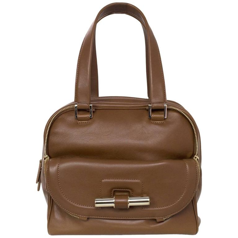 Jimmy Choo Tan Brown Leather Justine Bowler Bag w/ Zipper Detail For Sale
