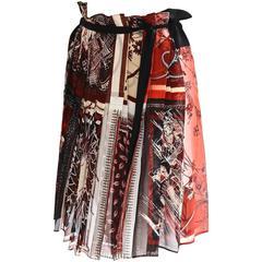 Jean Paul Gaultier Femme Silk Chiffon Pleat Print Skirt