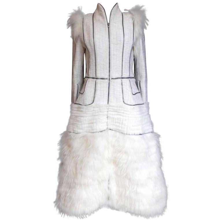 Alexander McQueen Fall 2011 Paris Collection White Mink Fur Coat 44 uk 12  1
