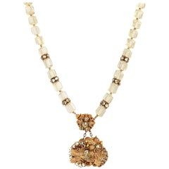 MIRIAM HASKELL c.1950's Signed Gold Gilt Leaf Crystal Beads Pendant Necklace
