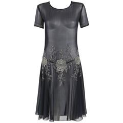 COUTURE c.1920's Navy Sheer Silk Chiffon Floral Glass Beaded Evening Dress