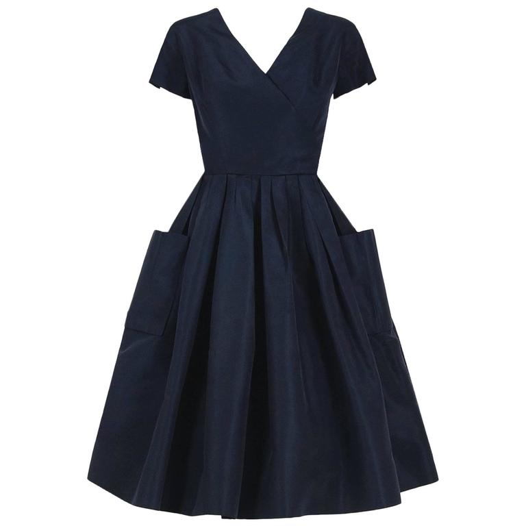 1954 Christian Dior Original Navy Blue Silk Pockets Low-Plunge Full Skirt Dress 1