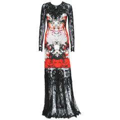 New Roberto Cavalli Lace Fully Beaded Stretch Long Dress Gown IT. 42