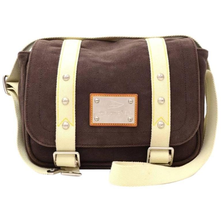 f80195dd6a47d Louis Vuitton Besace PM LV Cup Chocolate Brown Antigua Canvas Shoulder Bag