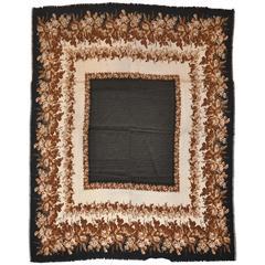 Yves Saint Laurent Huge Polka Dot Center with Brown Floral Border Silk Scarf