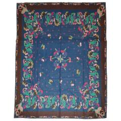 Emanuel Ungaro Huge Cotton with Fringe Multi-Color Floral Scarf