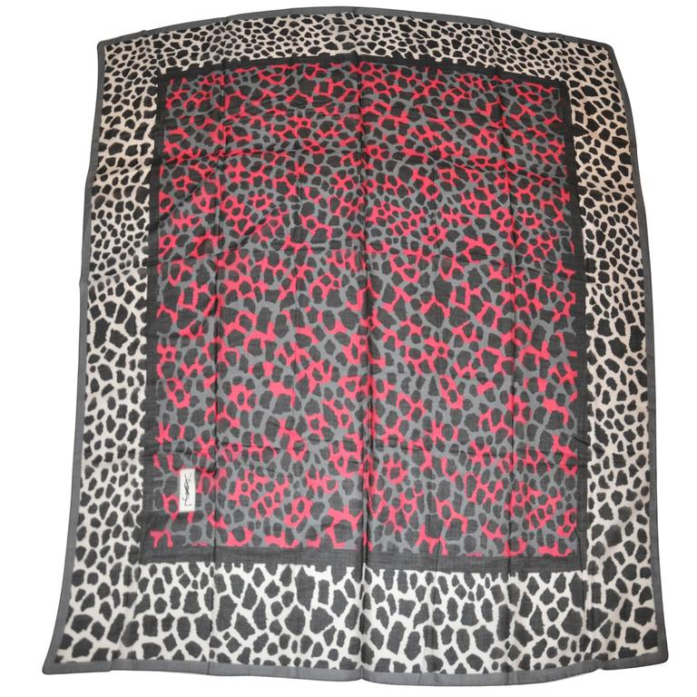 Yves Saint Laurent Huge Cotton Multi-Leopard with Gray Border Scarf