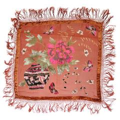 Large Silk Chiffon with Panels of Velvet Butterflies and Floral Fringed Scarf