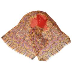 ETRO Large Bold Detailed Multi-Color Floral & Palsey Silk Chiffon Scarf