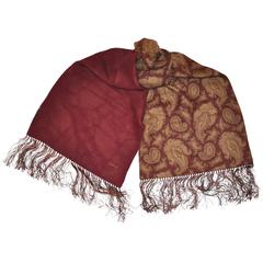 Silk & Wool Challis Burgundy & Palsey Print with Hand-Knotted Fringe Scarf