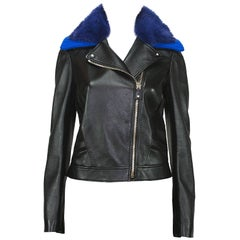 New Versace $8795 Black Leather Moto Jacket with Removable Double Mink Collar 40