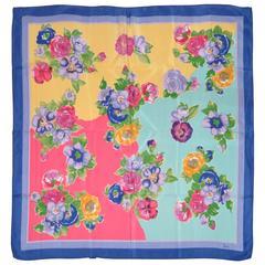 Honey Wide Blue Border & Multi-Color Floral Silk Scarf