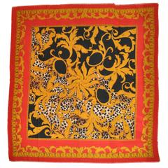 Bold Majestic Gold, Red & Black Fringed Scarf