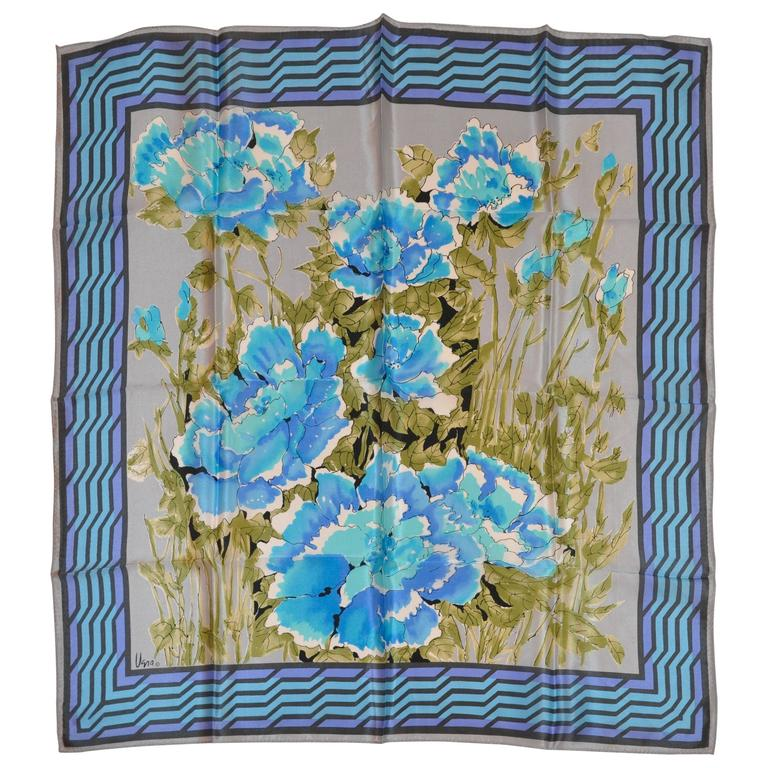 """Vera """"Shades of Blues Floral"""" Silk Scarf For Sale"""