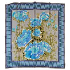 "Vera ""Shades of Blues Floral"" Silk Scarf"