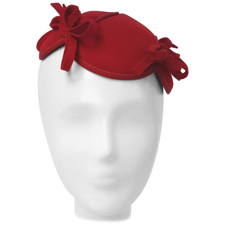 30s Red Felt Hat w/ Bows