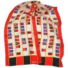 "Bill Blass ""Multi Flags"" Rectangle Silk Scarf"