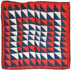 "Vera Red, White & Blue ""Triangle Print"" Silk Scarf"