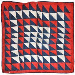 "Vera Red, White & Blue ""Triangle Print"" Silk Scarf"