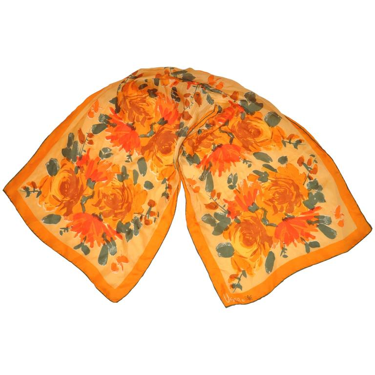 "Vera ""Burst of Tangerine & Orange Floral"" Silk Scarf For Sale"