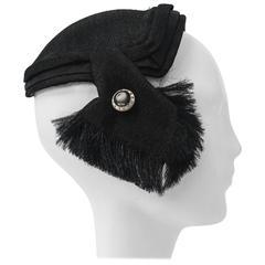 50s Black Linen Hat w/ Pullwork Detail