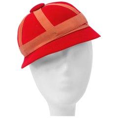 60s John Frederics Child's Red Velvet Mod Cap