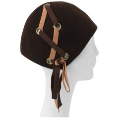 60s Brown Wool Felt Mod Hat w/ Lace-up Detail
