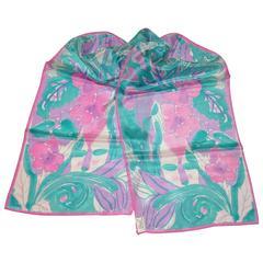 Vera Turquoise, Pink & Lavender Floral Silk Scarf