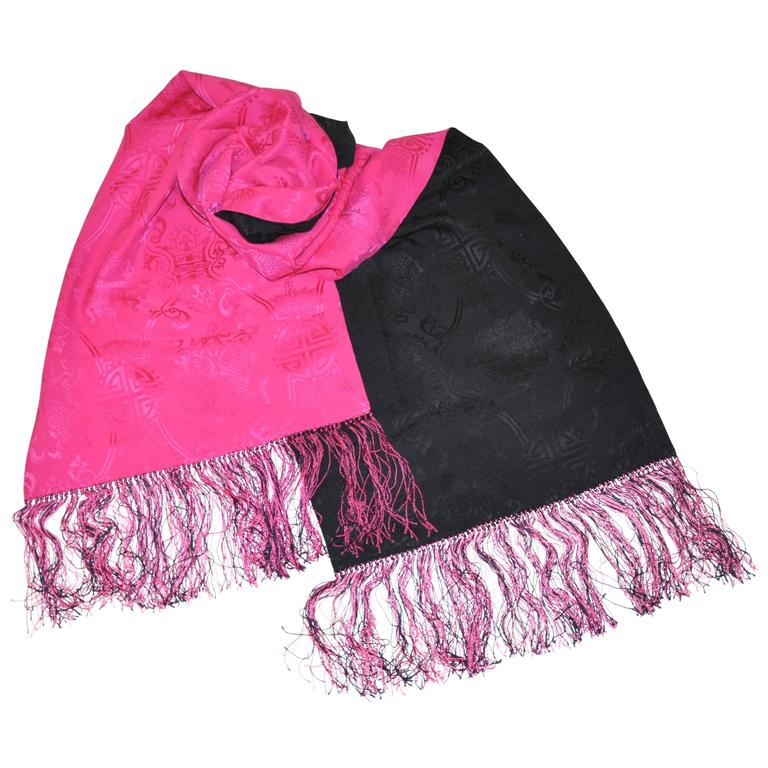 "Bold Double-Layered fuchsia & Navy ""Asian Theme"" Silk Crepe di Chine Scarf"