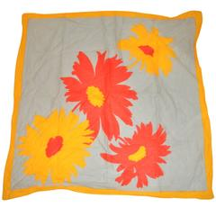 Bold 100% Cotton Yellow Border with Large Yellow & Red Floral Scarf
