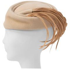 50s Beige Hat w/ Tan Feathers