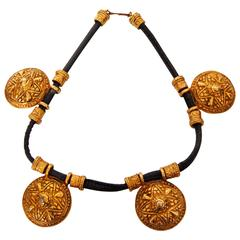 Accessocraft NYC Necklace Choker with Gold Metal Medallions Etruscan 1970s