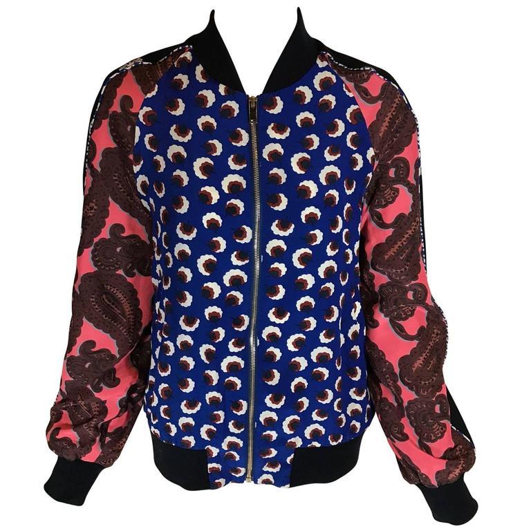 Stella McCartney Floral Print Silk Bomber Jacket